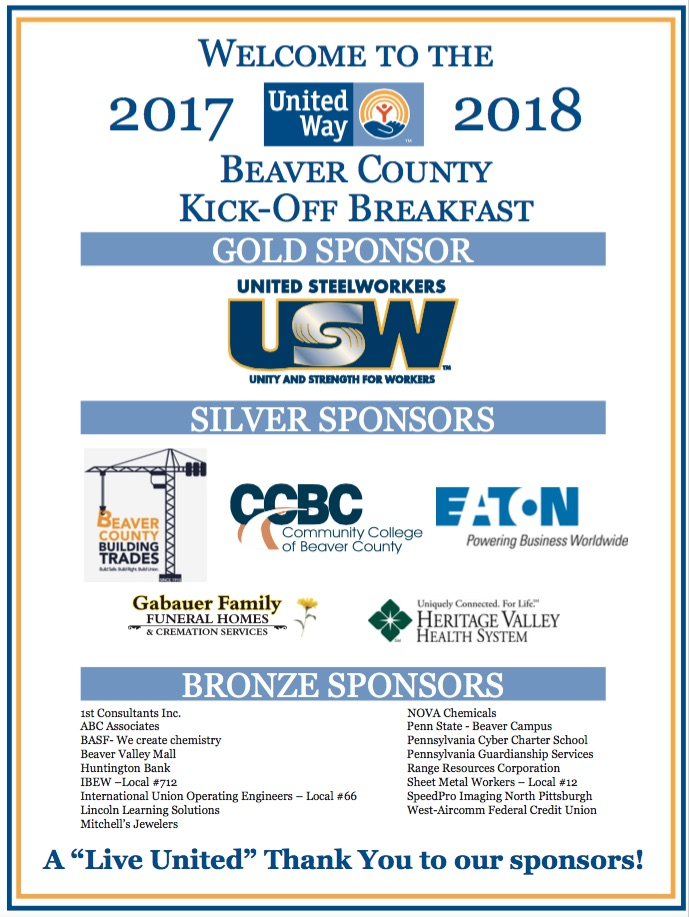 United Way of Beaver County Sets $775,000 Goal for Annual